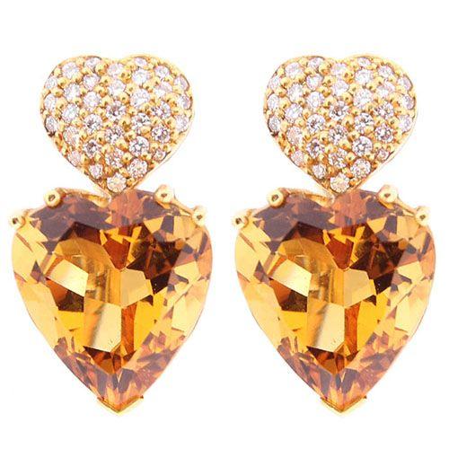 Серьги Gianni Lazzaro в форме сердечек из золота с цитрином и бриллиантами, фото