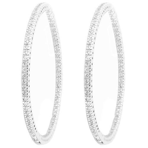 Серьги-кольца Gianni Lazzaro из белого золота с бриллиантами, фото