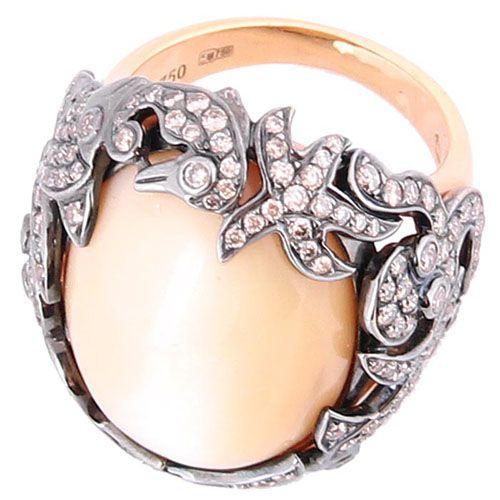 Перстень Gianni Lazzaro из золота с жемчугом и бриллиантами, фото