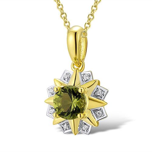 Кулон из желтого золота с бриллиантами и перидотом, фото