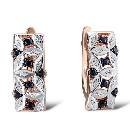Серьги из золота с бриллиантами и сапфирами, фото