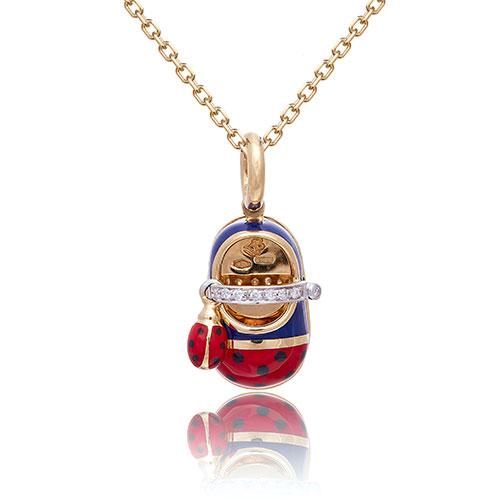 Кулон из красного золота с бриллиантами и эмалью, фото