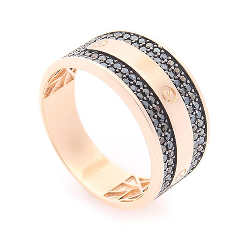 Кольцо из красного золота с циркониями, фото