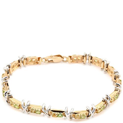 Браслет из красного золота с цитринами и хризолитами, фото