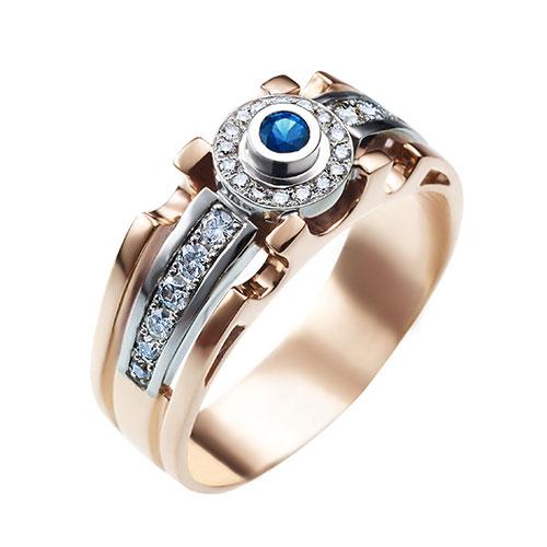 Кольцо из красного золота с бриллиантами и сапфиром, фото