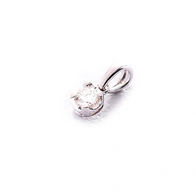 Кулон из белого золота с бриллиантом, фото