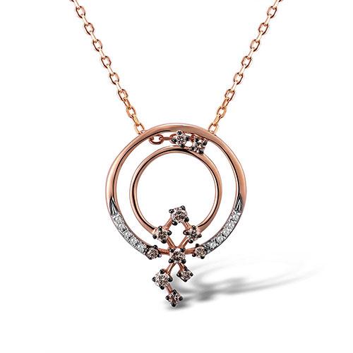 Кулон из красного золота с бриллиантами, фото