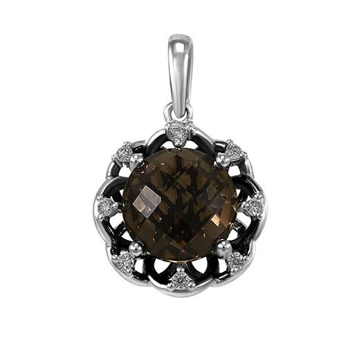 Кулон из белого золота с бриллиантами и кварцем, фото