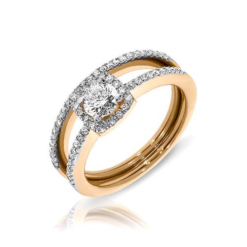 Кольцо из красного золота с бриллиантами, фото