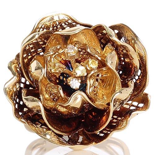 Золотой перстень Roberto Bravo Gallica с большим цветком с бриллиантами и сапфирами внутри, фото
