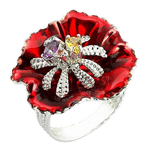 Кольцо 935 by Roberto Bravo с цветком красного цвета, фото