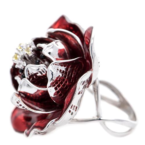 Кольцо 935 by Roberto Bravo с красным цветком, фото