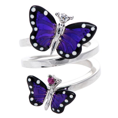 Двойное кольцо 935 by Roberto Bravo с фиолетовыми бабочками, фото