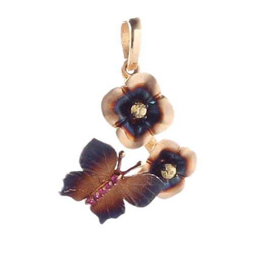 Золотой подвес Roberto Bravo Global Warming с коричневыми цветами и бабочкой, фото