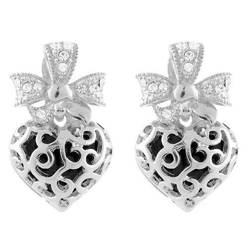 Серьги Parure Milano с ажурными сердечками в серебряном цвете, фото