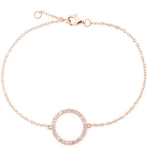Браслет Jewels с покрытием из розового золота на тонкой цепочке с кольцом из цирконов, фото