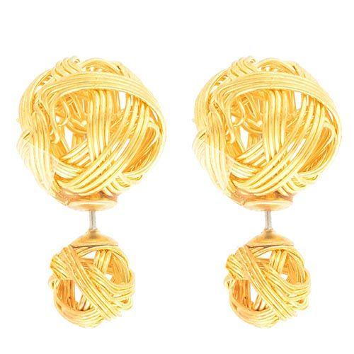 Серьги-пусеты Jewels в виде клубка из золотых нитей, фото