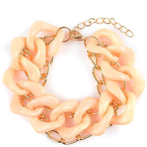 Браслет Jewels в виде одной крупной и двух узких цепочек абрикосового и золотого цвета, фото