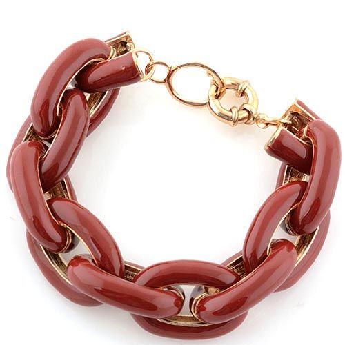 Браслет Jewels из крупных цвеньев бордово-коричневого цвета, фото