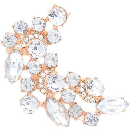 Серьга-кафф Jewels золотого цвета с крупными стразами, фото