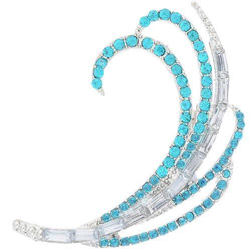 Изящная серьга-кафф Jewels в серебре со сверкающими изумрудными стразами, фото