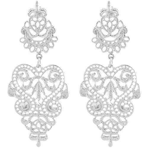 Резные серьги-гвоздики Jewels серебристого цвета, фото