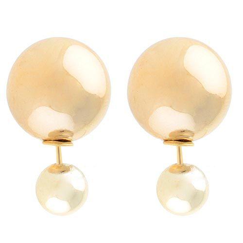 Серьги-пусеты Jewels глянцевые светло-золотого цвета, фото