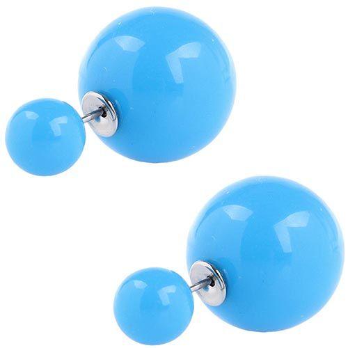 Серьги пусеты Jewels глянцевые синего цвета, фото