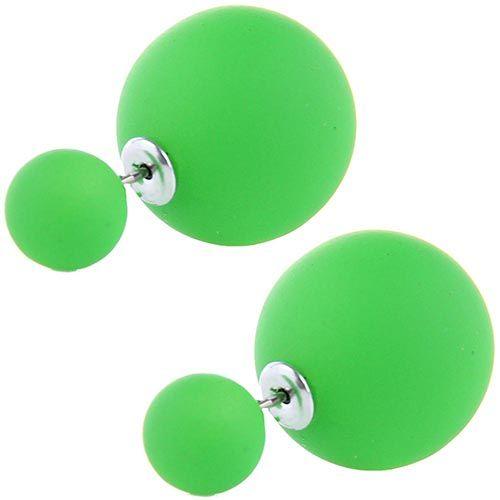 Серьги пусеты Jewels матовые зеленого цвета, фото