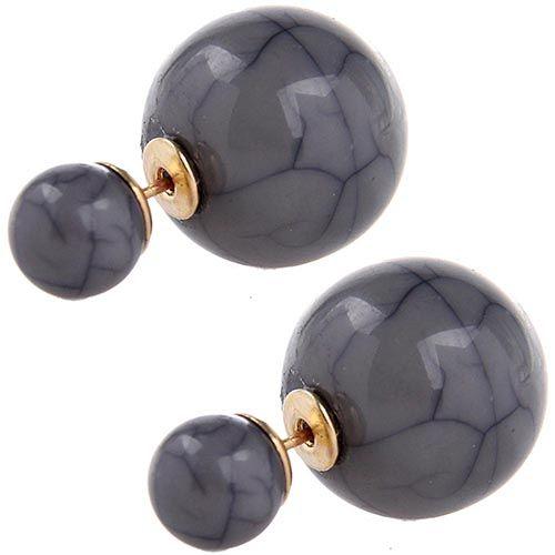 Серьги пусеты Jewels серого цвета с декоративными трещинками, фото