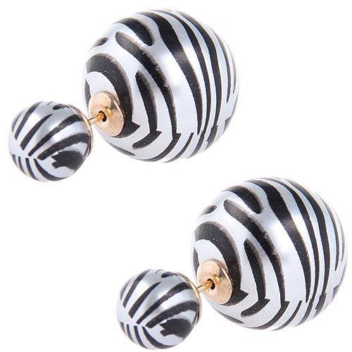 Серьги пусеты Jewels с принтом зебры на серебристой бусине, фото
