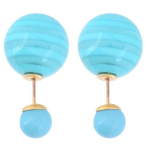 Асимметричные серьги-гвоздики с ярко-голубыми полосатыми бусинами, фото