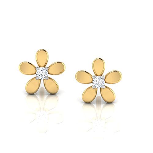 Золотые серьги-пусеты Perfecto Jewellery Kids Collection в виде цветочков с бриллиантами je00150-ygp900, фото