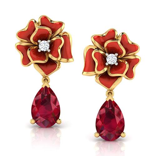 Серьги из золота Perfecto Jewellery с бриллиантами и рубином je03608-ygp9rp, фото