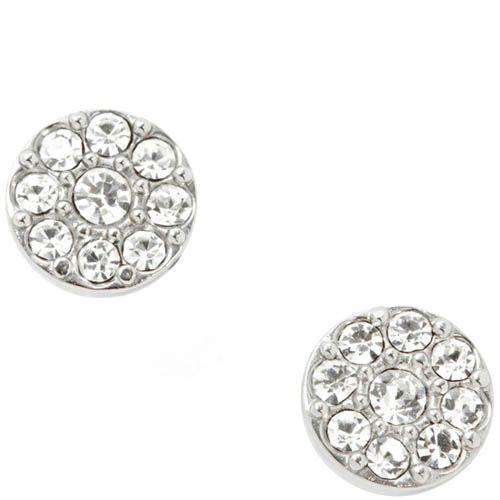 Серьги-гвоздики FOSSIL круглые с кристаллами Сваровски, фото