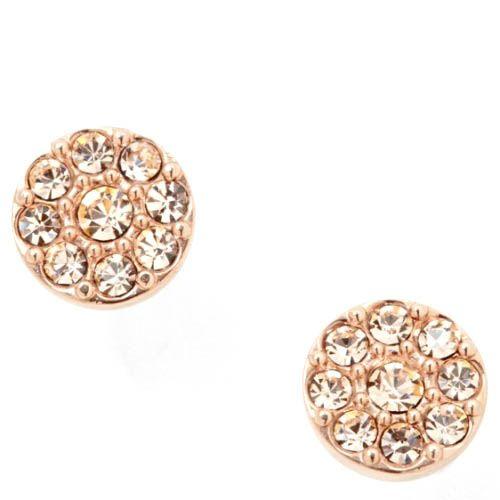 Серьги-гвоздики FOSSIL круглые с кристаллами Сваровски под золото, фото