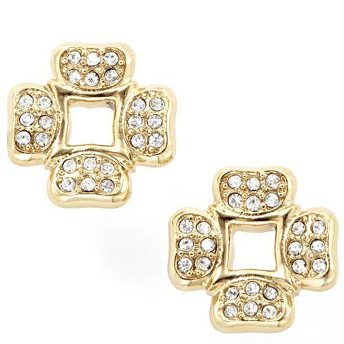 Серьги-пусеты FOSSIL с кристаллами Сваровски под золото, фото