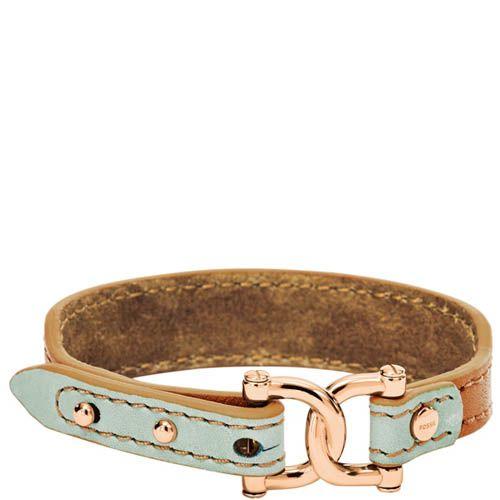 Браслет FOSSIL кожаный нежно-голубой, фото