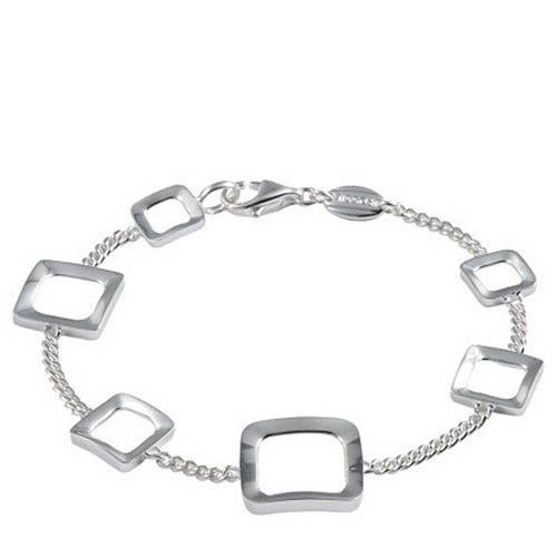 Браслет FOSSIL серебряный с квадратными вставками, фото