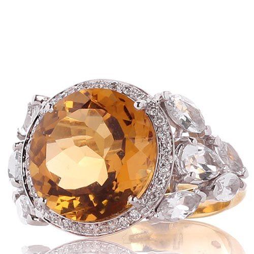 Кольцо Falcinelli с бриллиантами топазами и крупным цитрином, фото