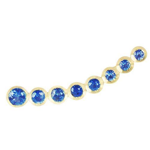 Золотая моно-серьга с сапфирами Jealous Jewelry Blue sky, фото