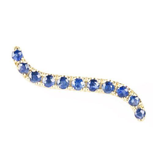 Золотая моно-серьга с сапфирами Jealous Jewelry Blue wave, фото