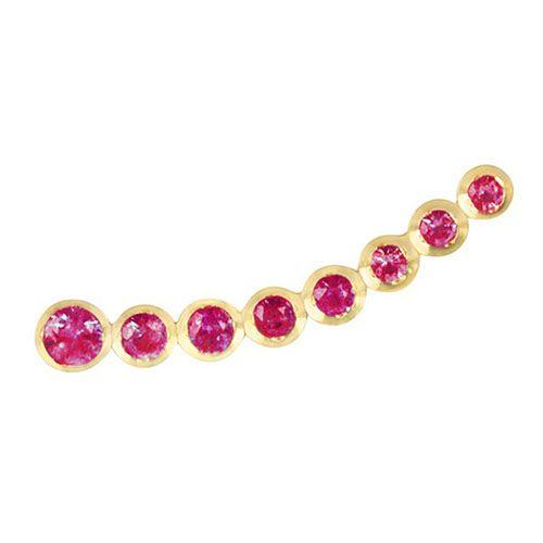 Золотая моно-серьга с рубинами Jealous Jewelry Pink mood, фото