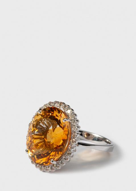 Крупное кольцо Gemmis с бриллиантами и цитрином, фото