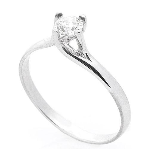 Кольцо с бриллиантом Оникс из белого золота, фото
