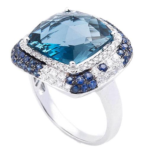 Золотой перстень с топазом Лондон голубой, фото