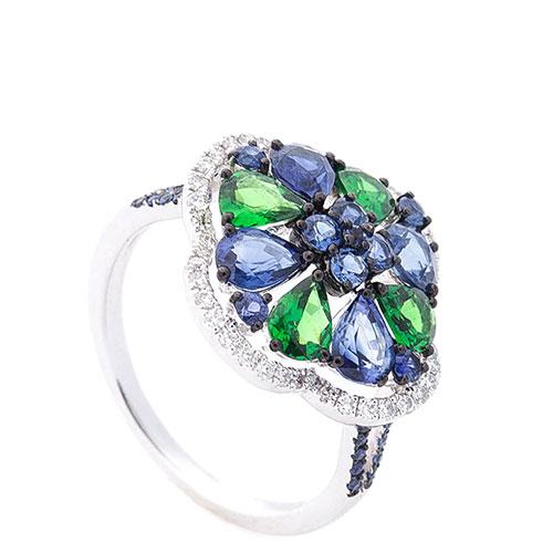 Золотое кольцо Оникс с зеленым уваровитом, фото