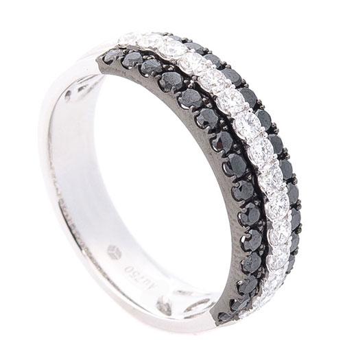 Широкое кольцо Оникс с черными и белыми бриллиантами, фото