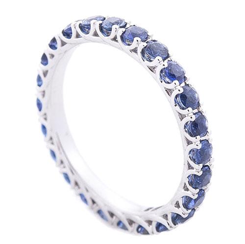 Золотое кольцо с дорожкой из сапфиров, фото