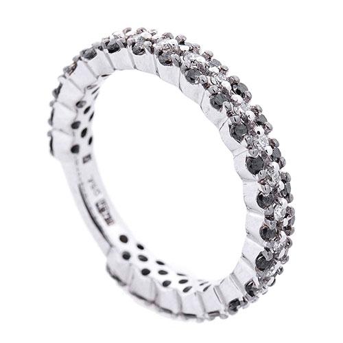 Кольцо Оникс с черными и белыми бриллиантами, фото